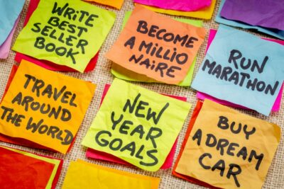 Post it notes with new years goals